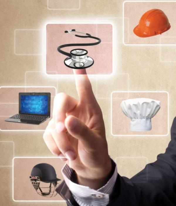 Illustration of man selecting career information